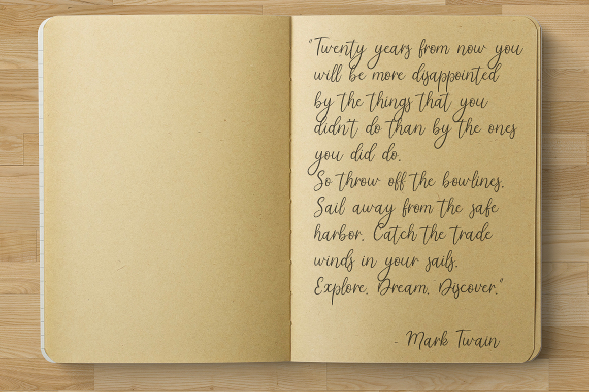Tatima. Handwritten font.  example 3