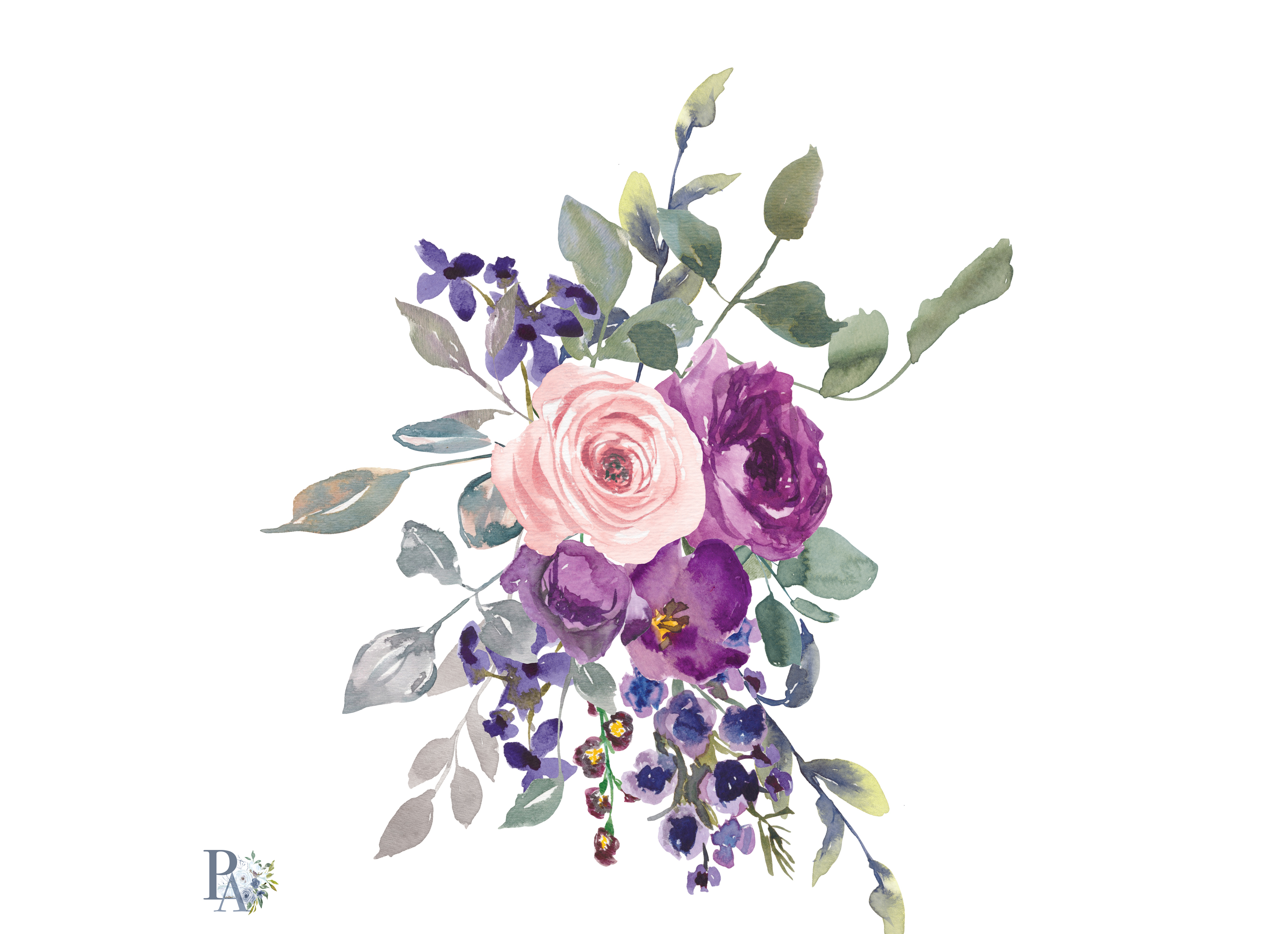 Watercolor plum lavender blush pink dar design bundles watercolor plum lavender blush pink dark purple flowers arrangement clipart roses and wax flowers example image mightylinksfo