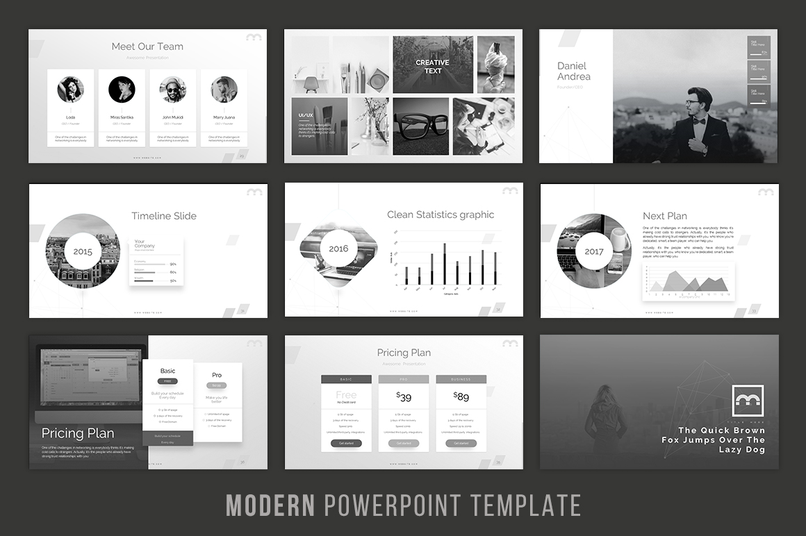 modern powerpoint template by brandea design bundles. Black Bedroom Furniture Sets. Home Design Ideas