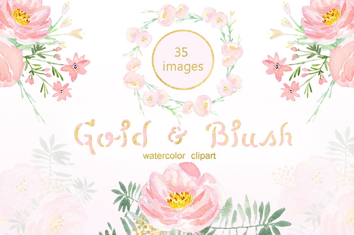 Gold & blush watercolor flowers example image 3
