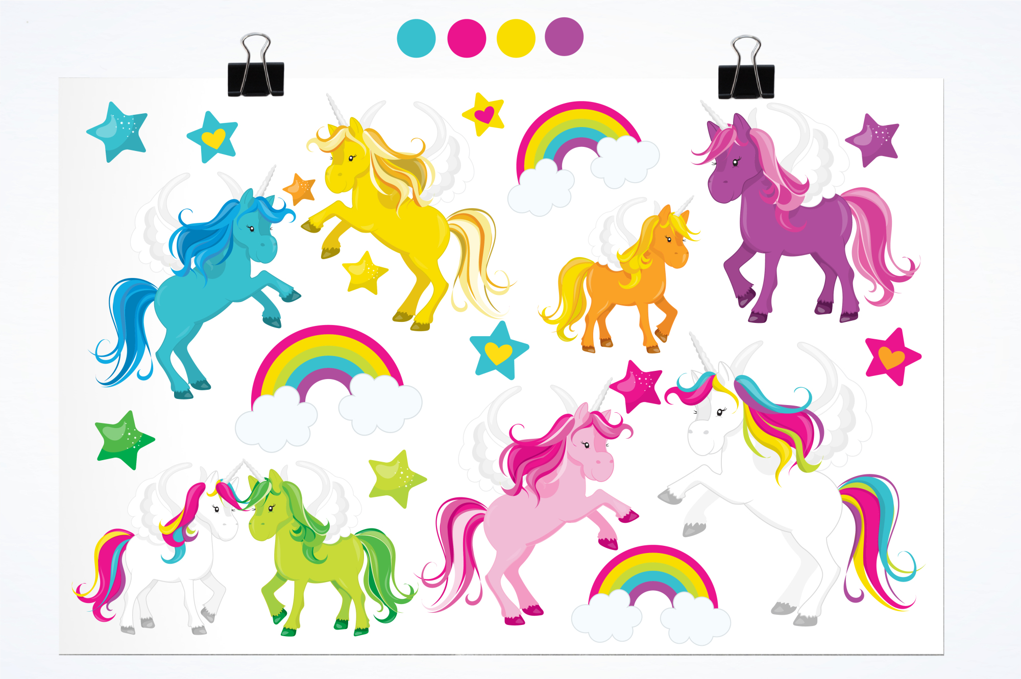 Unicorns and Rainbows graphics and illustrations example image 2