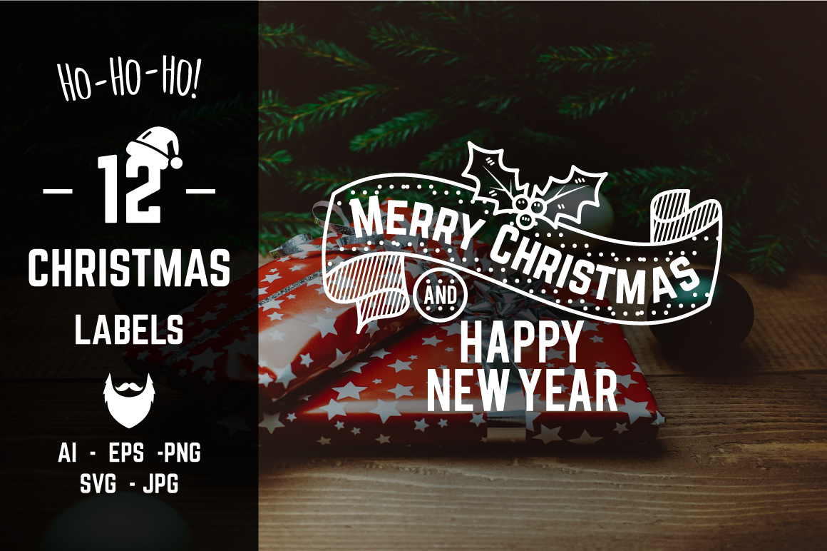 Christmas & New Year Labels & Badges example image 1