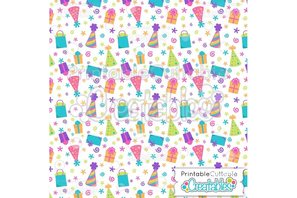 Birthday Hats & Presents Digital Paper & Seamless Pattern