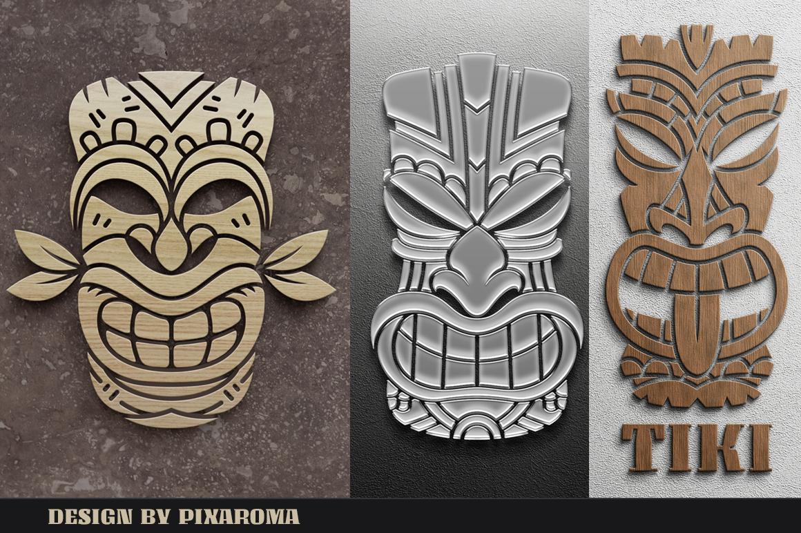 Tiki Head Illustrations Set example image 15