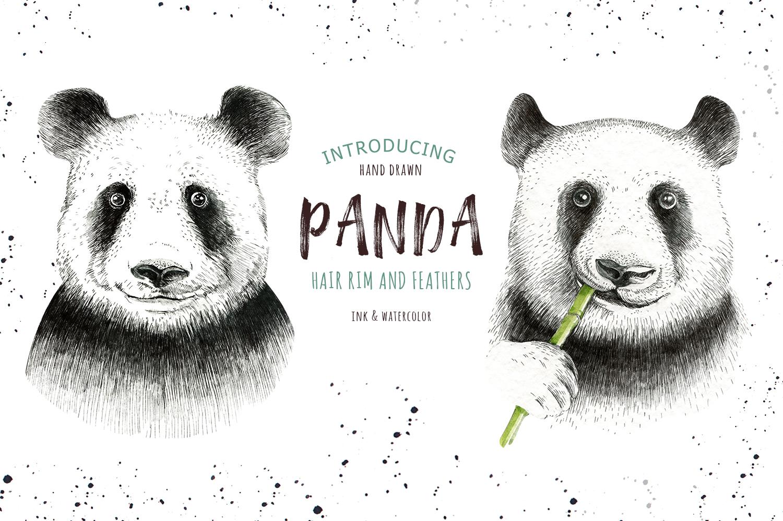 Watercolor panda illustration. Bohemian cute animals.  example image 7
