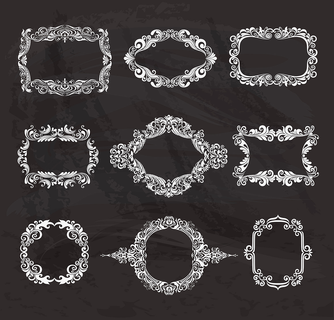 Set of vintage frames and monograms example image 13