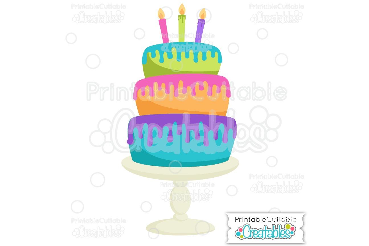 Birthday Cake SVG Cut File & Clipart