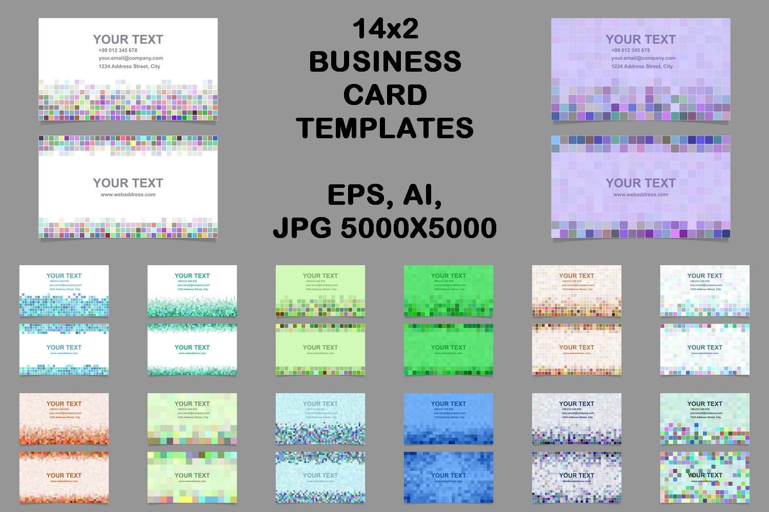 14x2 pixel mosaic business card templat | Design Bundles