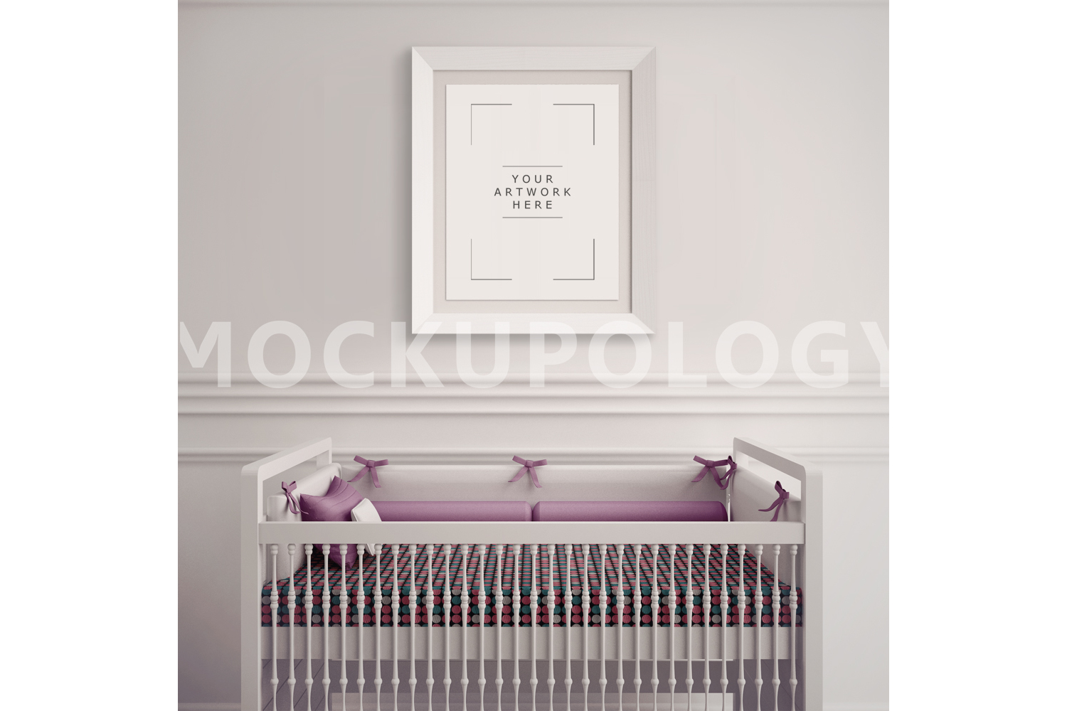 8x10 White Frame Nursery Interior Mockup, Baby Cradle Styled Photography Poster Mockup, Plain Wall Background, INSTANT DOWNLOAD example image 1