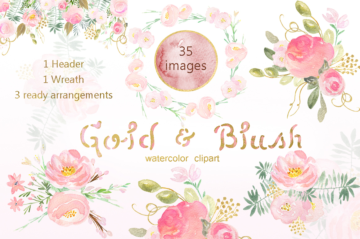 Gold & blush watercolor flowers example image 5