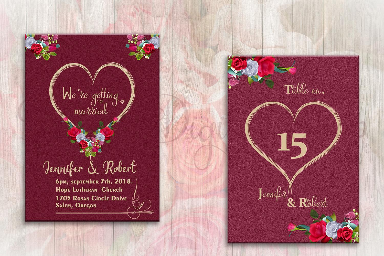 Floral Wedding Invitation Suite by Deny | Design Bundles