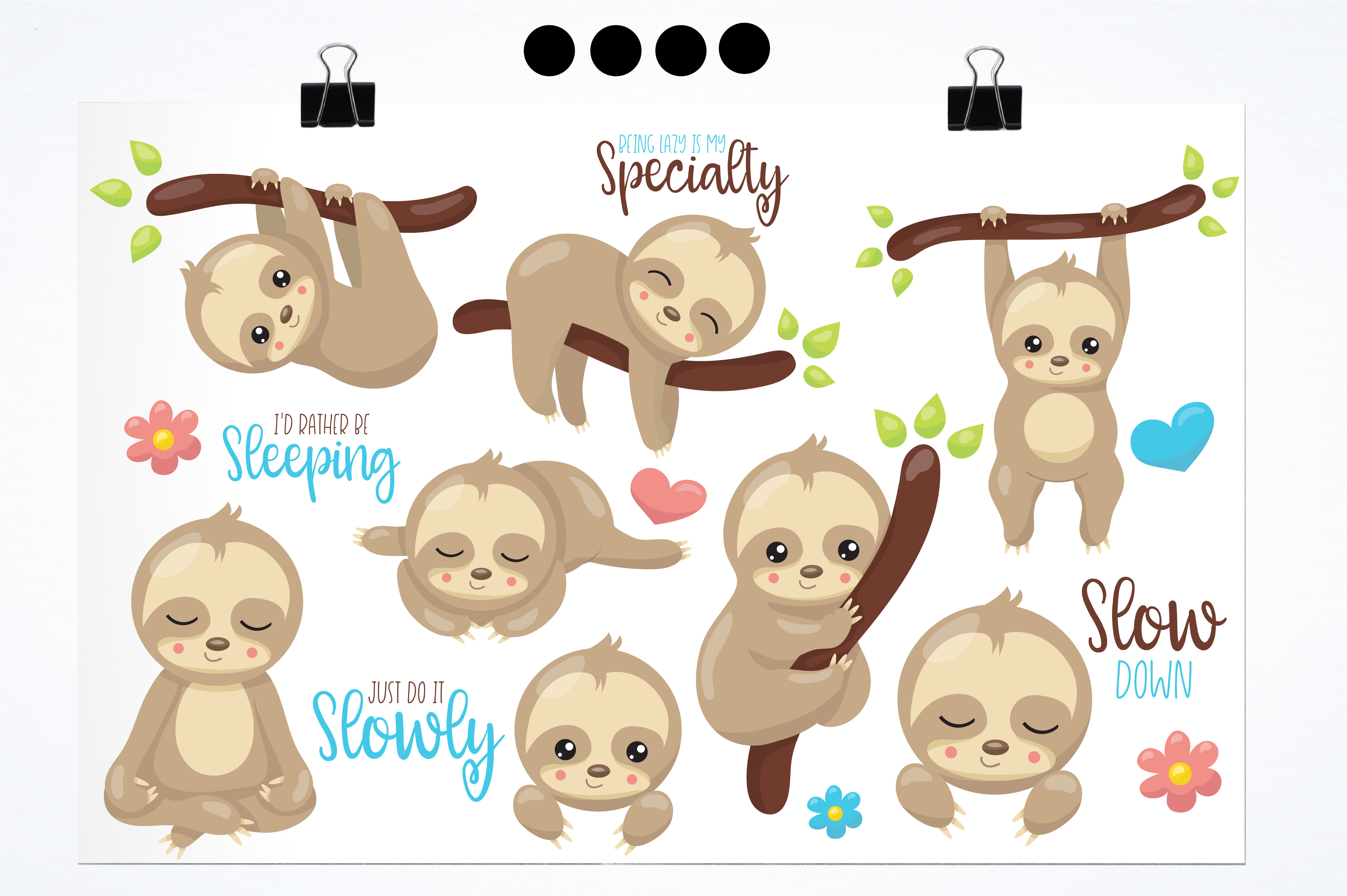 Sleepy sloth graphics and illustrations example image 2