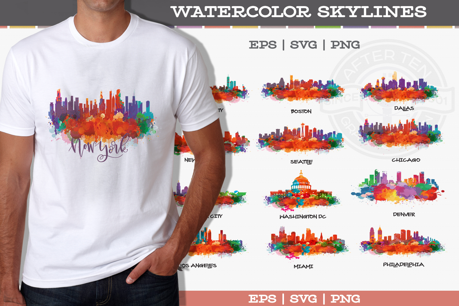 US Cities Watercolor Vol.1 example image 1