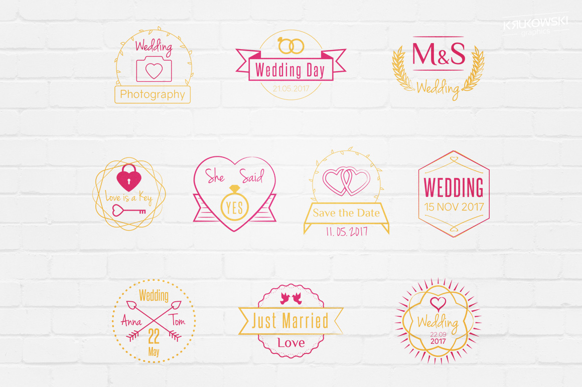 Wedding Stamp Vector Badges Logos example image 1