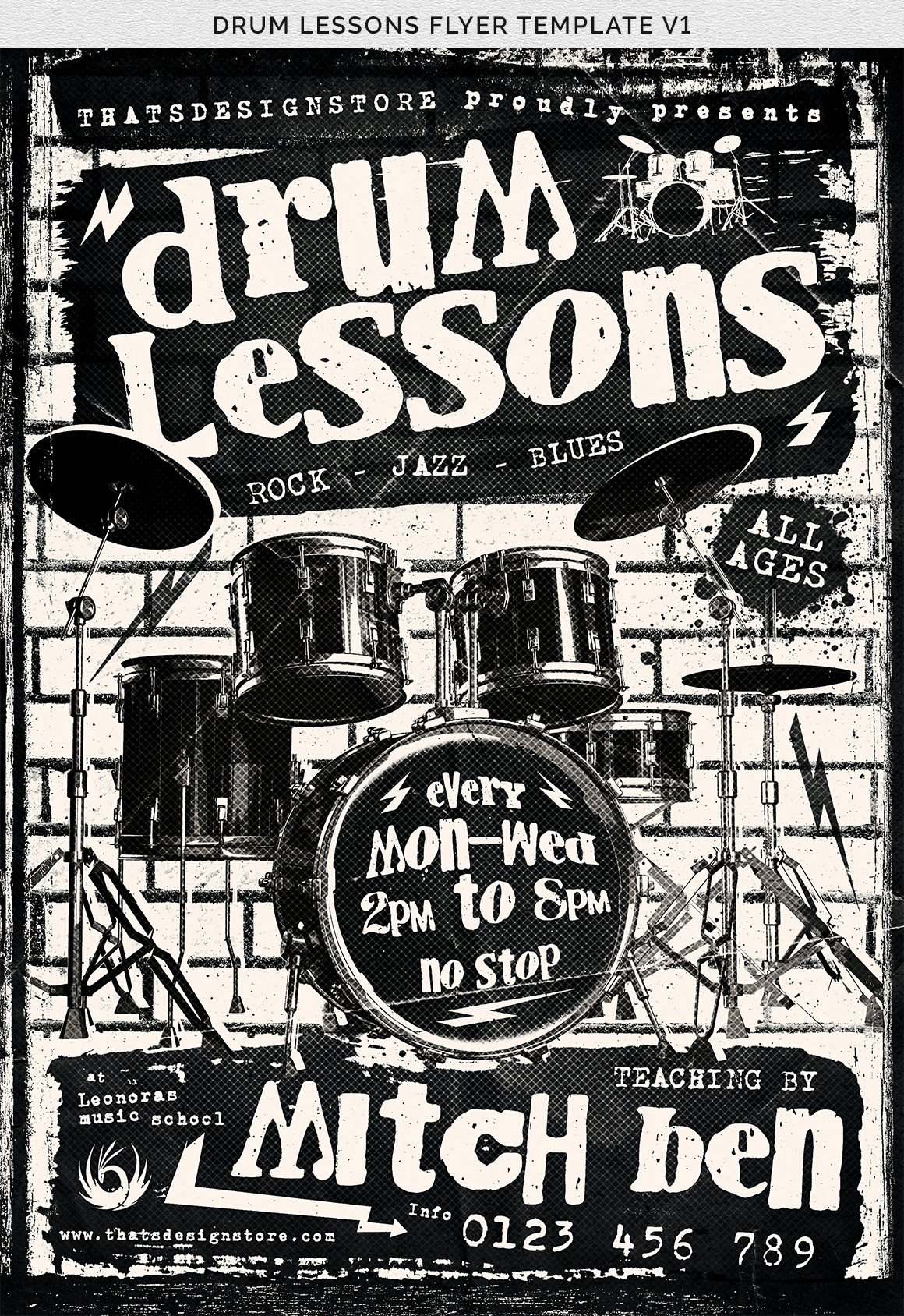 Drum Lessons Flyer Template V1 example image 8