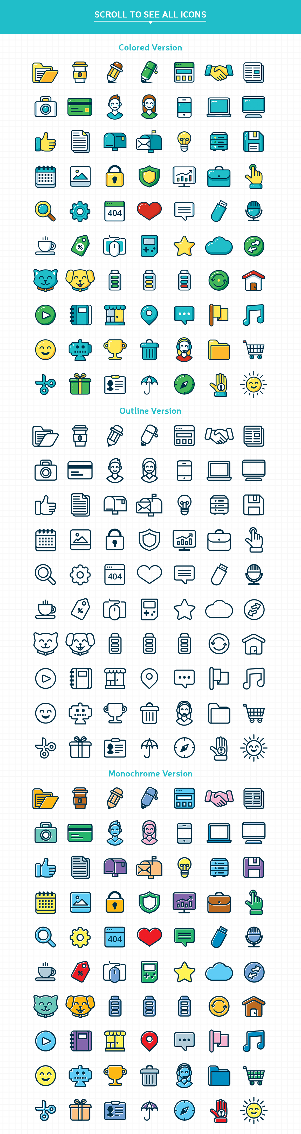 Customizable Outline Icons Set example image 5