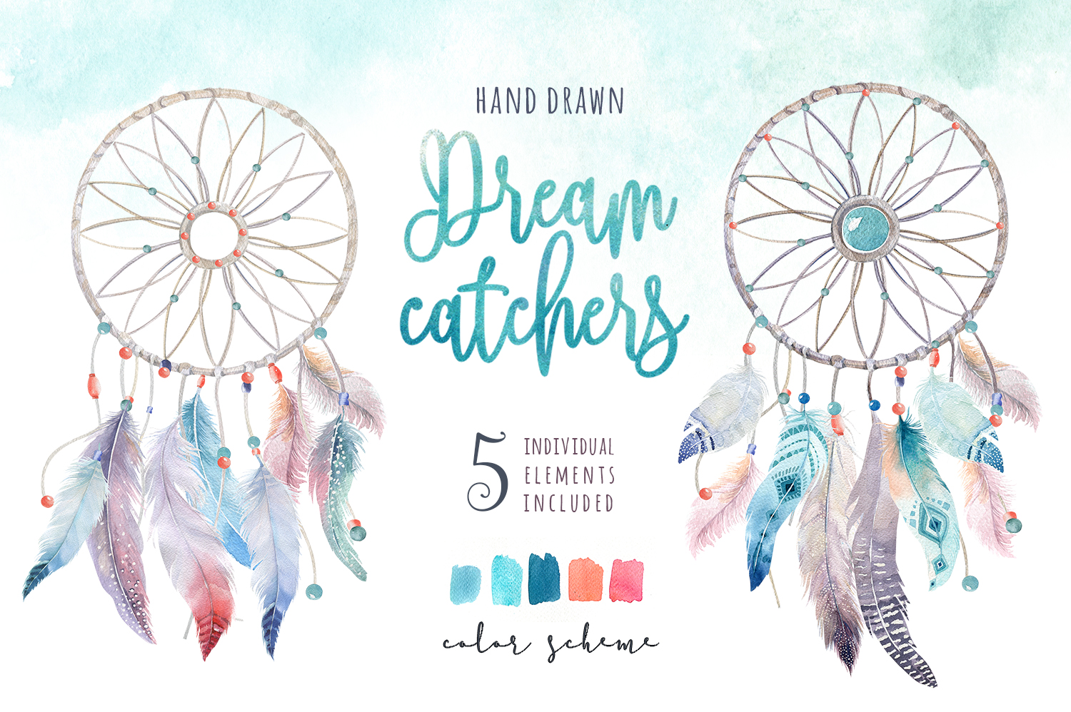 30% off Watercolor dreamcatcher III example image 2