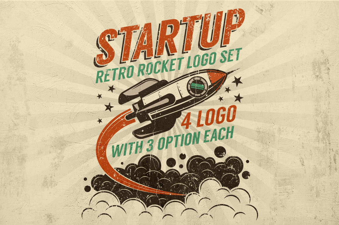 Startup Rocket Retro Logo example image 1