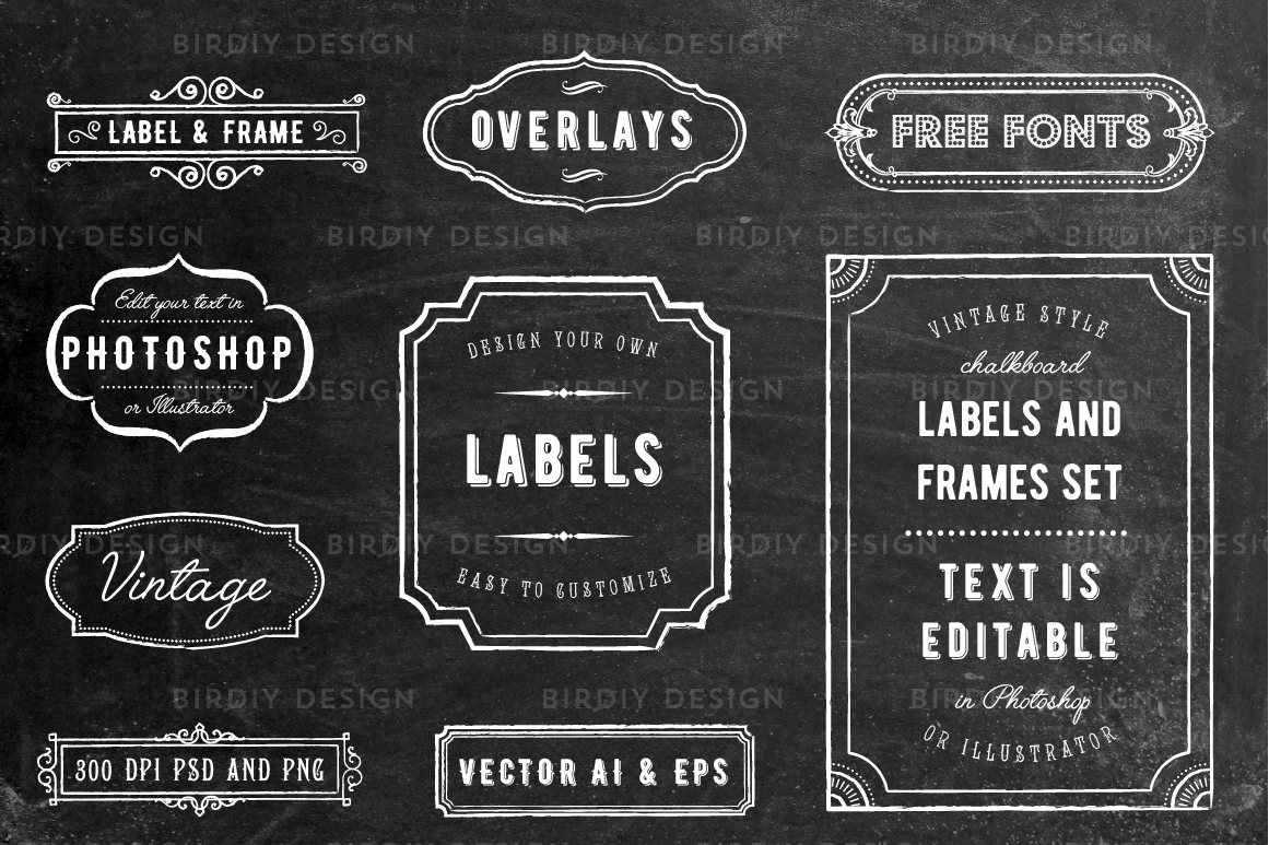Chalkboard Frame and Label Overlays by | Design Bundles