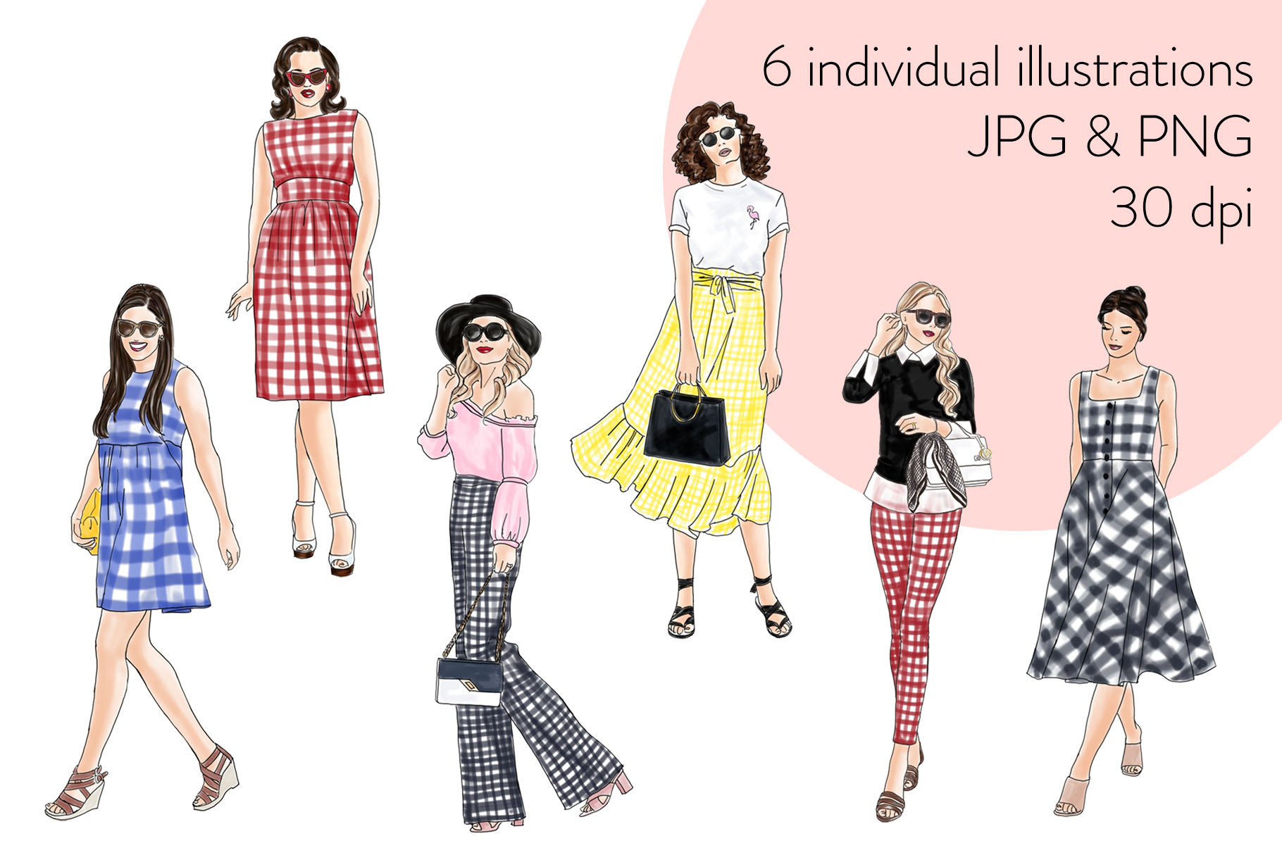 Fashion illustration clipart - Girls in Gingham - Light Skin example image 2