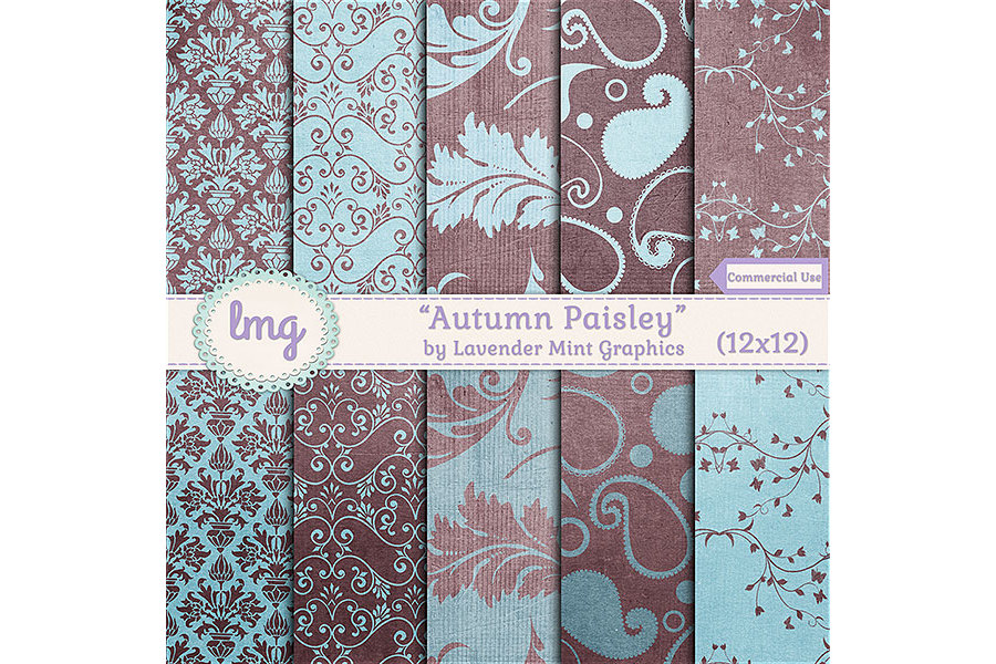 Autumn Paisley Digital Paper example image 1