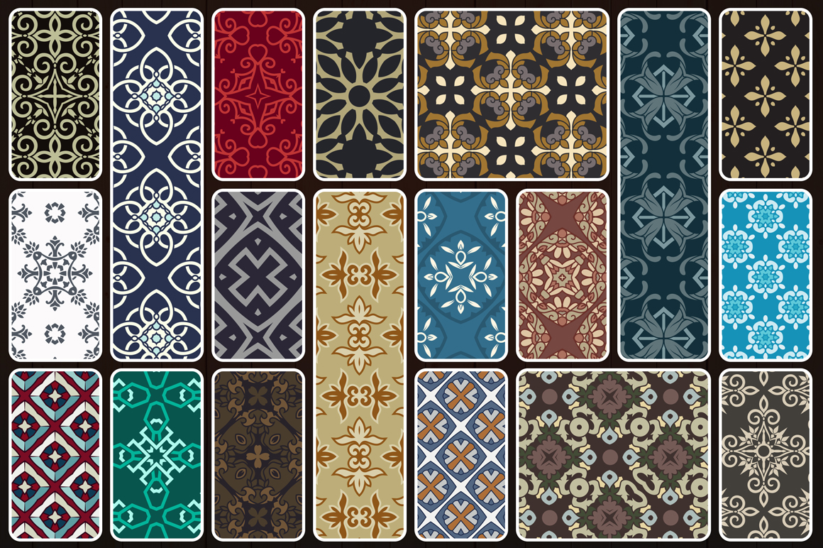 123 Vintage Seamless Vector Patterns example image 10
