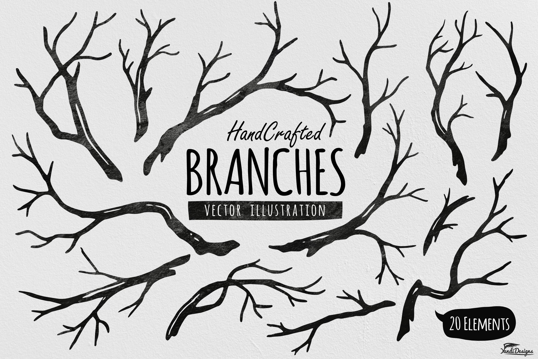 hand crafted tree branches vector by ya design bundles rh designbundles net branch vector png branch vector download