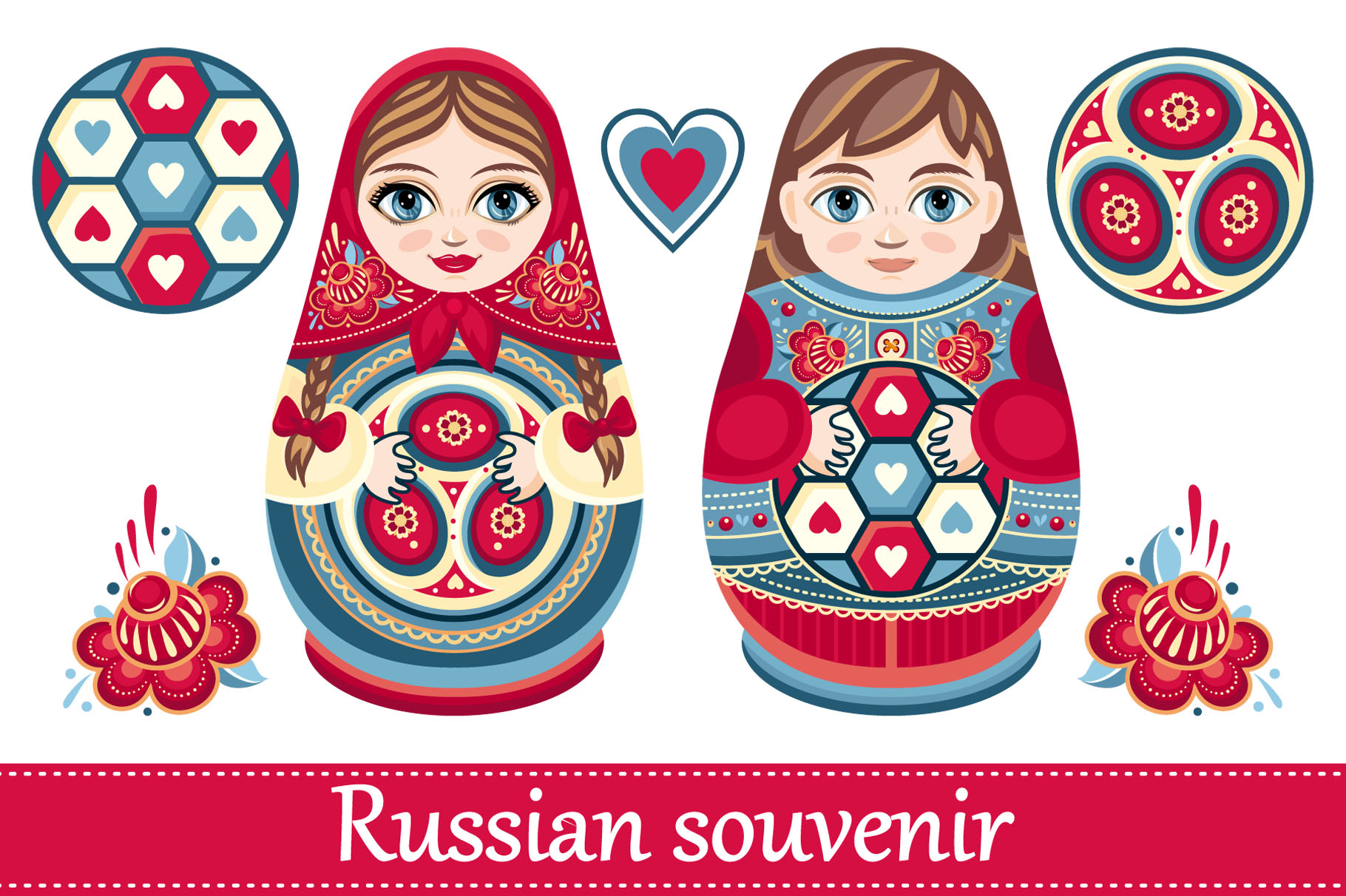 matryoshka russian souvenir soccer ba design bundles