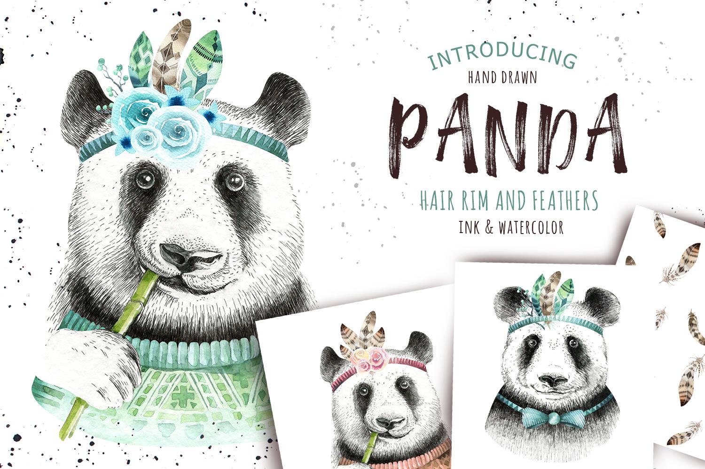 Watercolor panda illustration. Bohemian cute animals.  example image 1