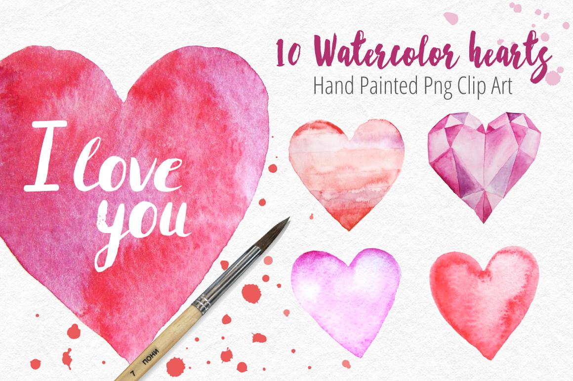 10 Watercolor Hearts Clip Art example image 1