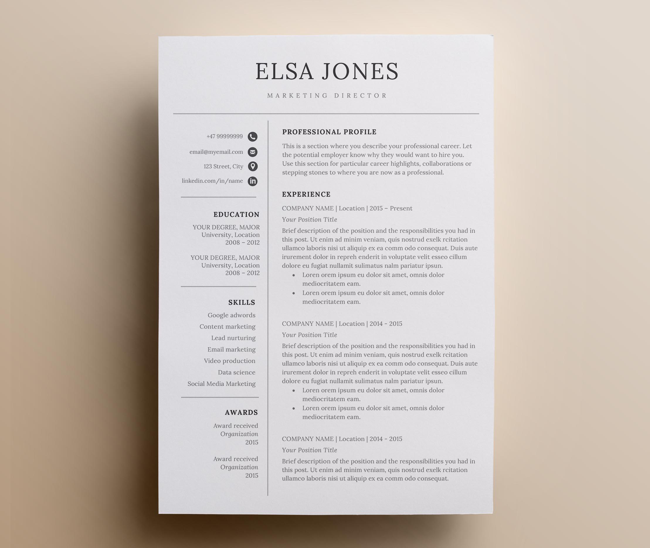 Resume template & Cover Letter + Icon S   Design Bundles
