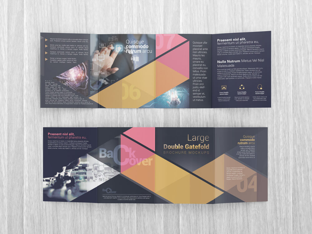 Large Double Gate Fold Brochure Mockups  Design Bundles