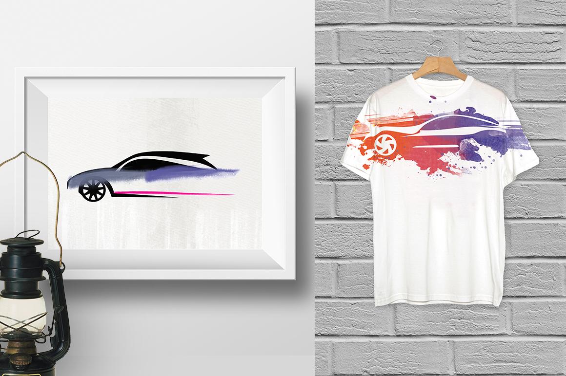 Watercolor cars logo example image 3