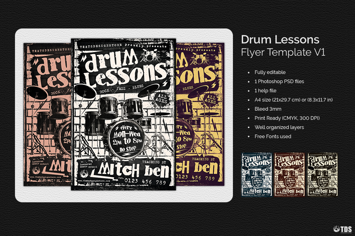Drum Lessons Flyer Template V1 example image 4