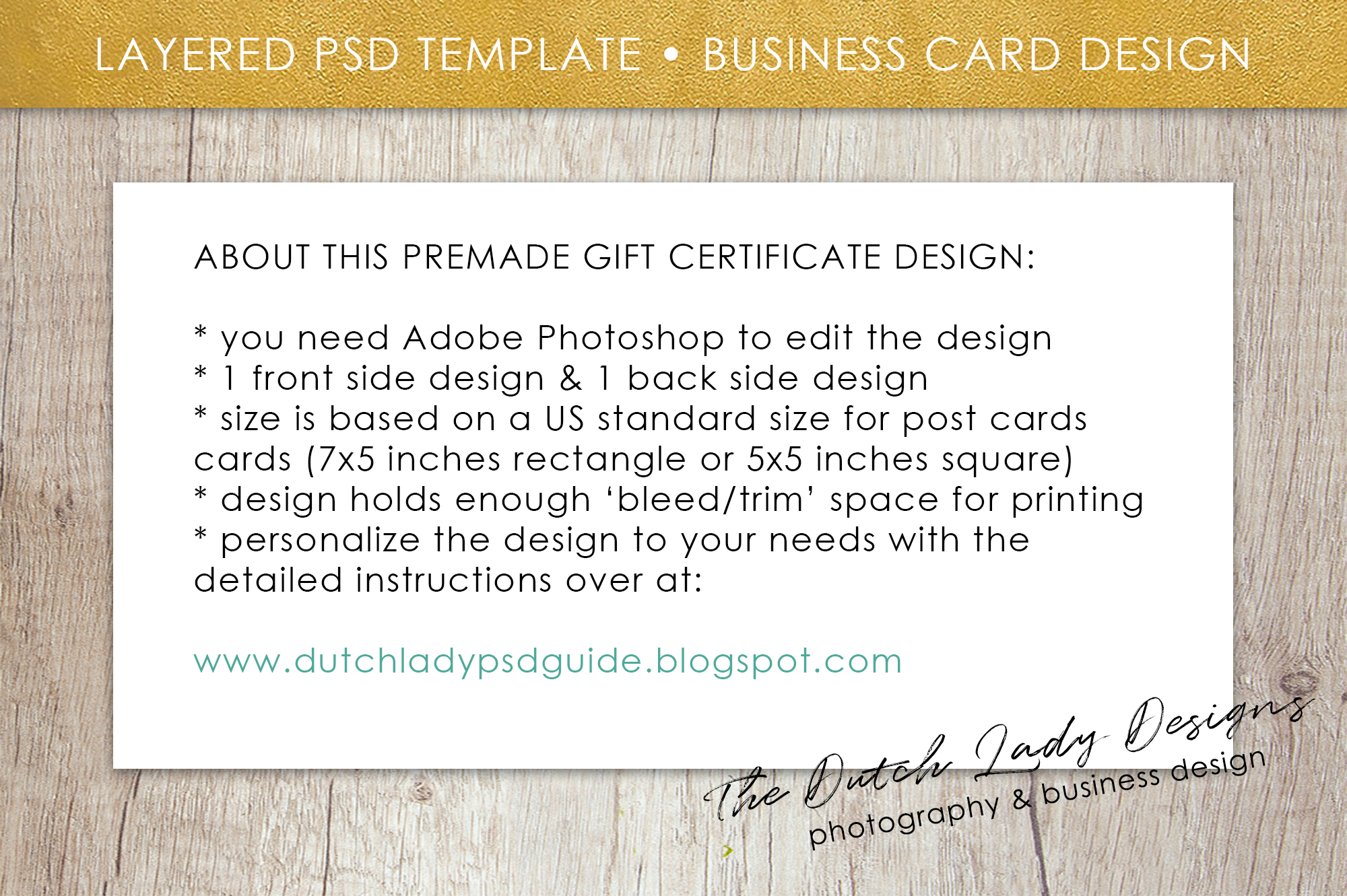 Photo Gift Card Template For Adobe Photoshop   Layered PSD Template    Design #33 Example