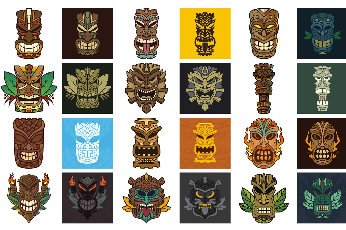 Tiki Head Illustrations Set example image 2
