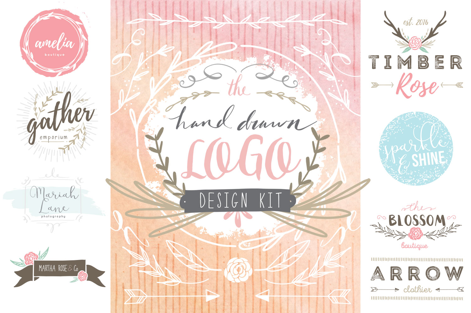 Hand Drawn Logo Design Kit example image 1