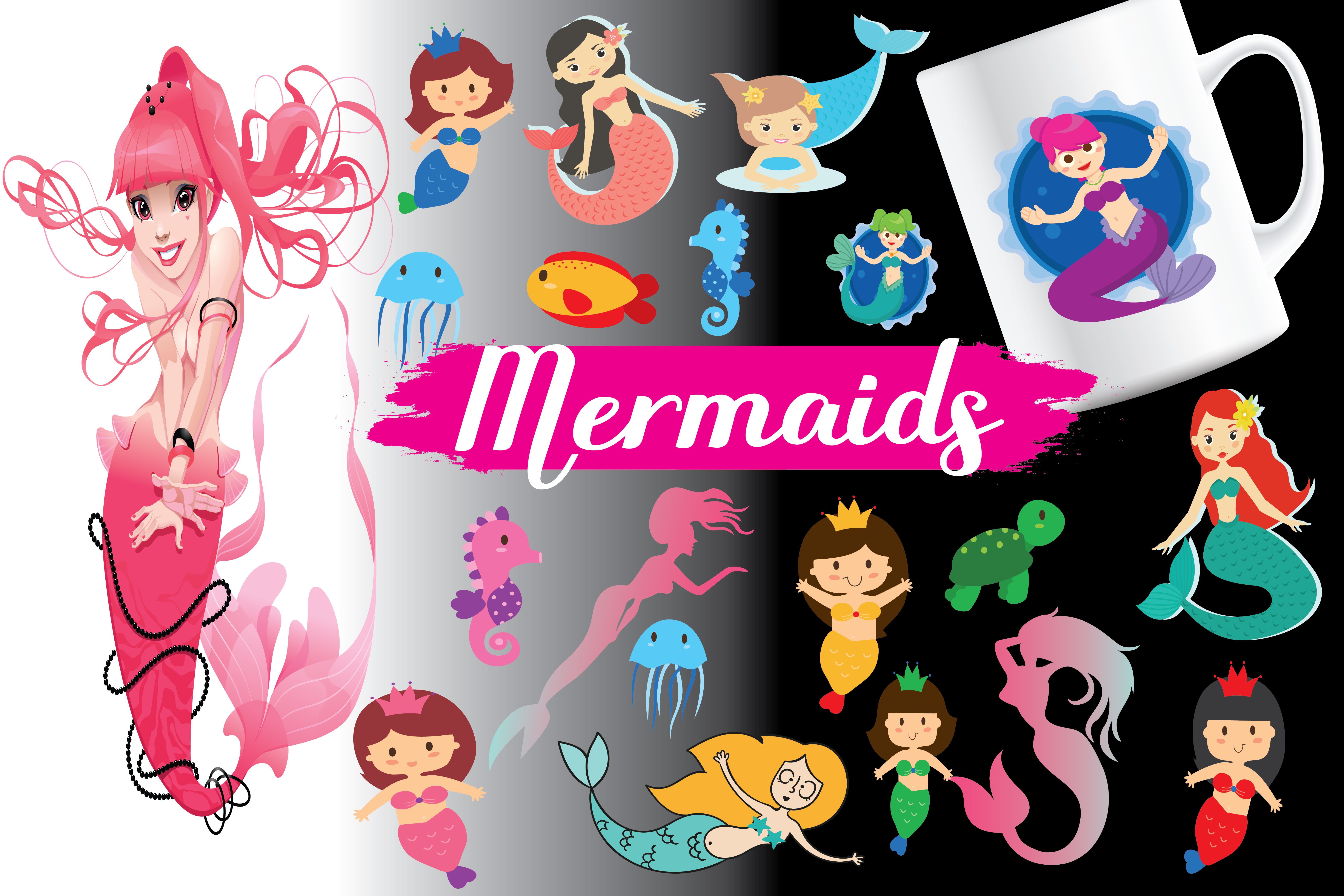 Mermaids,Mermaidselements,Mermaidsvector,Mermaids patterns,Mermaidsbundles,Mermaids,sea mermaids,sea animals,sea example image 1