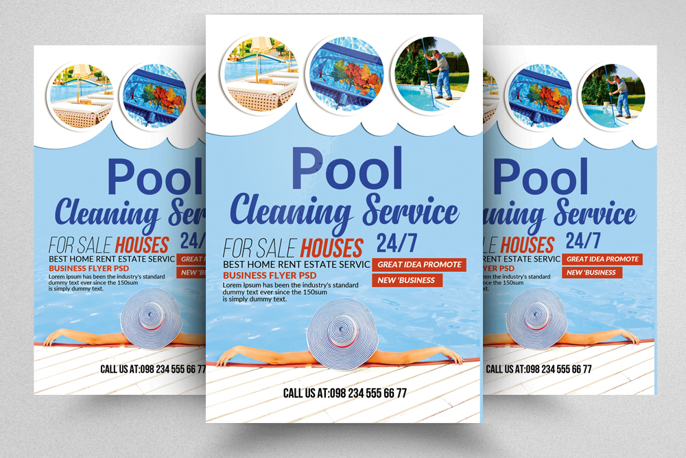 Swimming Pool Cleaning Service Flyer By Design Bundles
