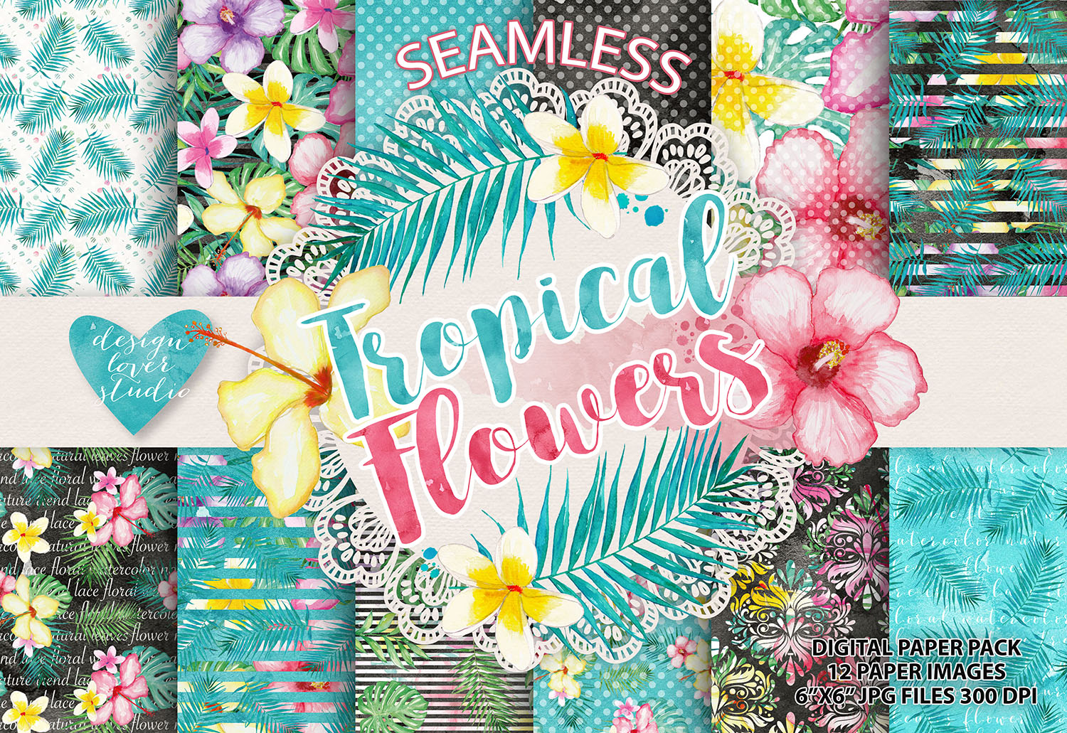 Watercolor Tropical flowers digital paper example image 1