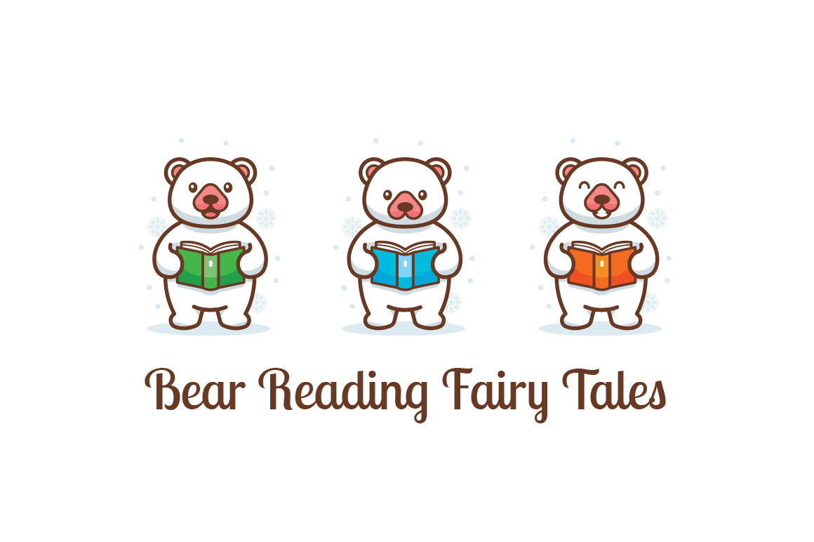 Bear reading fairy tales clipart example image 1