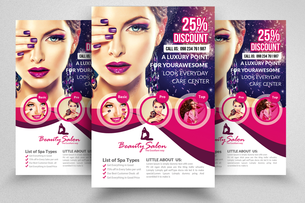Beautiful Beauty Salon Flyer Template 02 Example Image 3 Nice Ideas