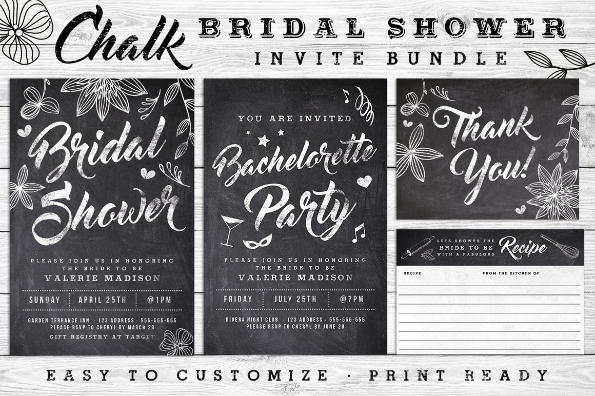 Massive Wedding Invite Bundle Flyer Save the Date Bridal Shower Party 60% Off example image 9