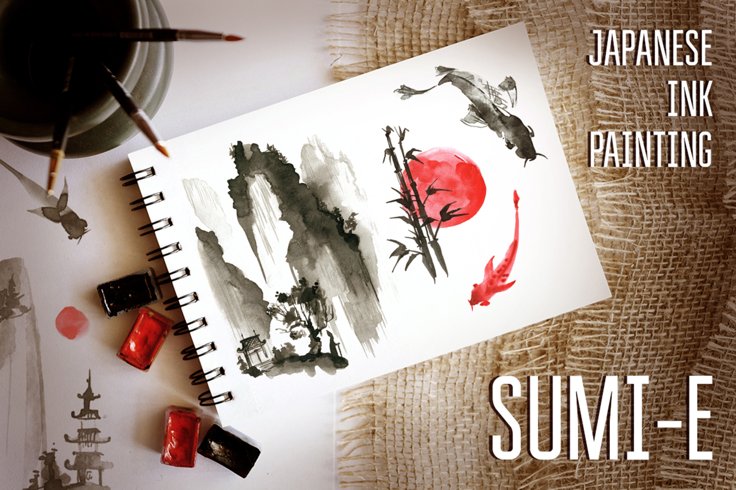 Sumi-e. Japanese ink painting example image 1