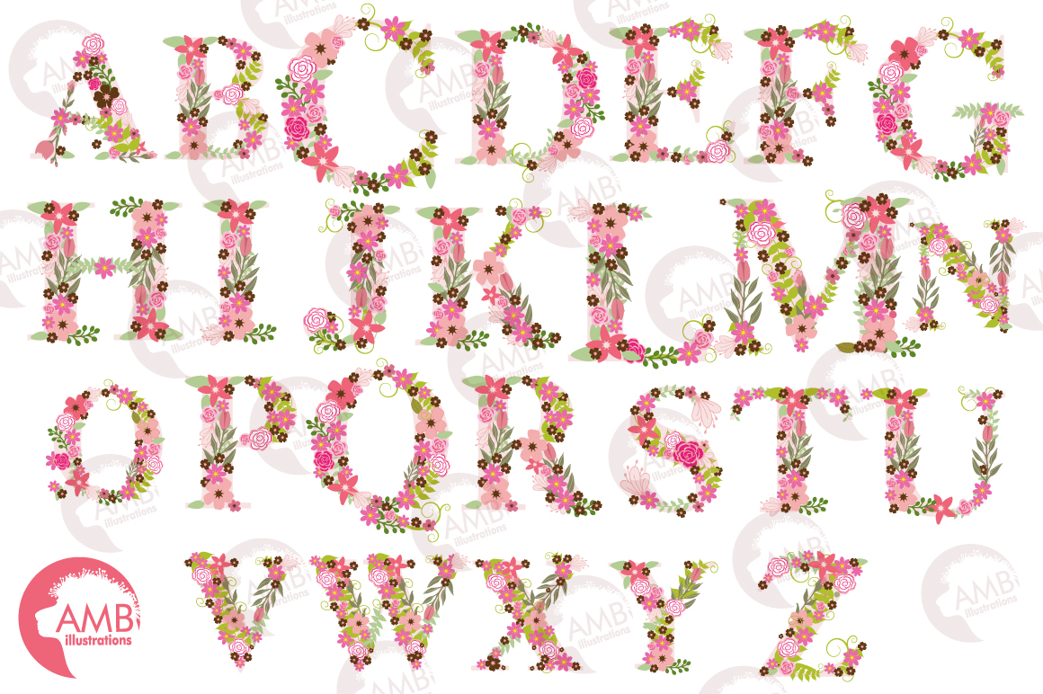 Floral alphabet clipart, graphics, illustrations AMB-1104 example image 5