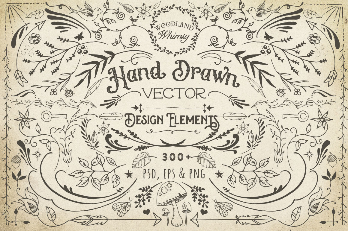 Elements For Design : Hand drawn vector design elements by av bundles