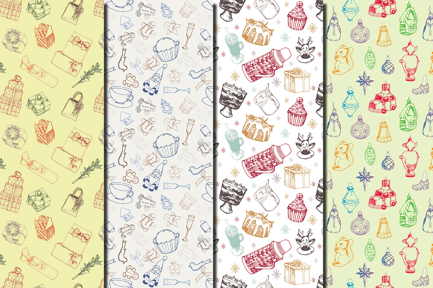Christmas Hand drawn seamless digital paper pack example image 2