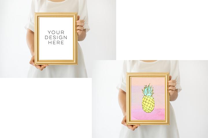 Gold Frame Mockup, 8x10 frame mockup, Girl Holding Poster Mockup, Girl Holding Frame Mockup, digital photoshop backgrounds, Gold mock up example image 3