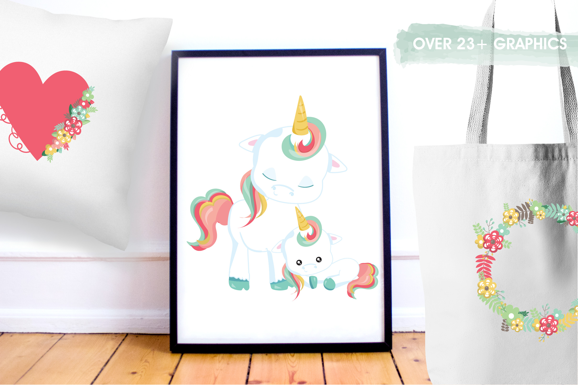 Floral unicorn graphics and illustrations example image 5