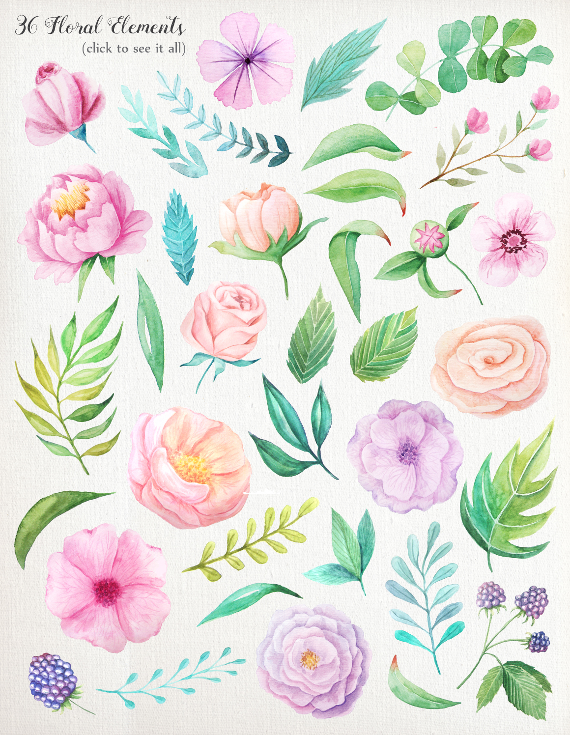 Summer Watercolor Floral BUNDLE example image 20